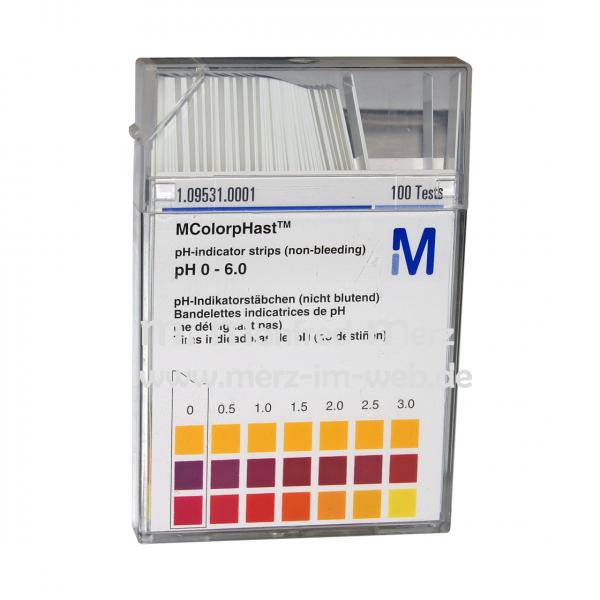 MColorpHast pH-Indikatorstäbchen pH 0-6,0 100 Stück
