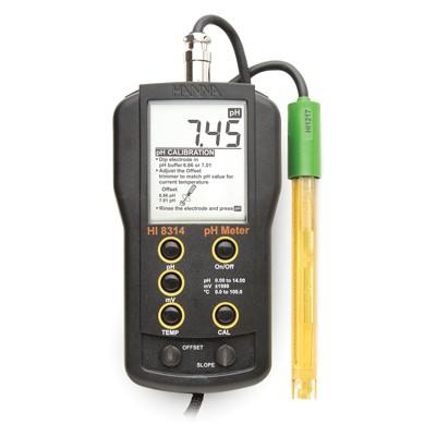 Hanna pH-/Redox/°C-Messgerät HI8314 mit pH-Elektrode HI1217D