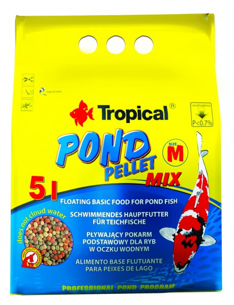 Tropical Fischfutter Pond Pellet Mix Size M 5 Liter im Beutel