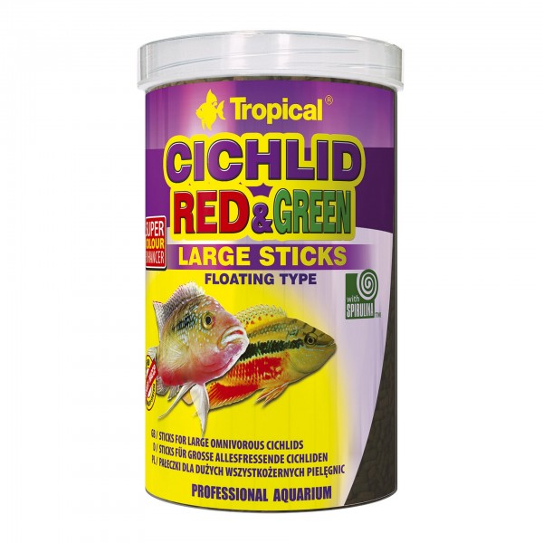 Fischfutter TROPICAL Cichlid Red & Green Large Sticks, 1 Liter