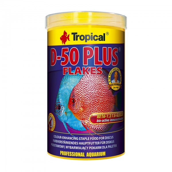 Fischfutter TROPICAL D-50 Plus Flakes, 1 Liter