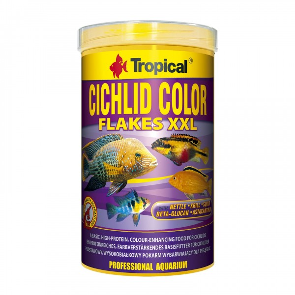 Fischfutter TROPICAL Cichlid Color Flakes XXL 1 Liter