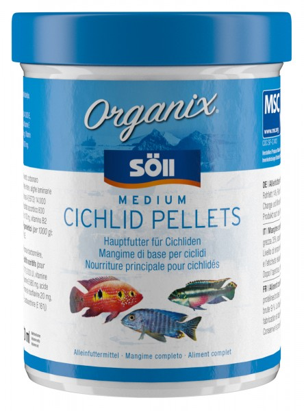 Cichlidenfutter Organix Medium Cichlid Pellets 98g (270 ml)
