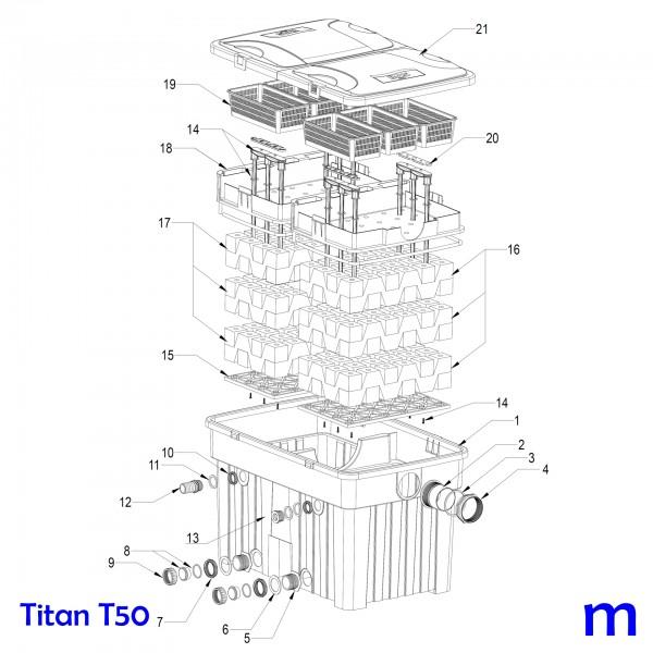 Gartenteichfilter Titan T50, Bild Nr. 14, 15, 16 und 18 HERZ Filtereinsatz blau / feinporig für SÖLL Titan T50