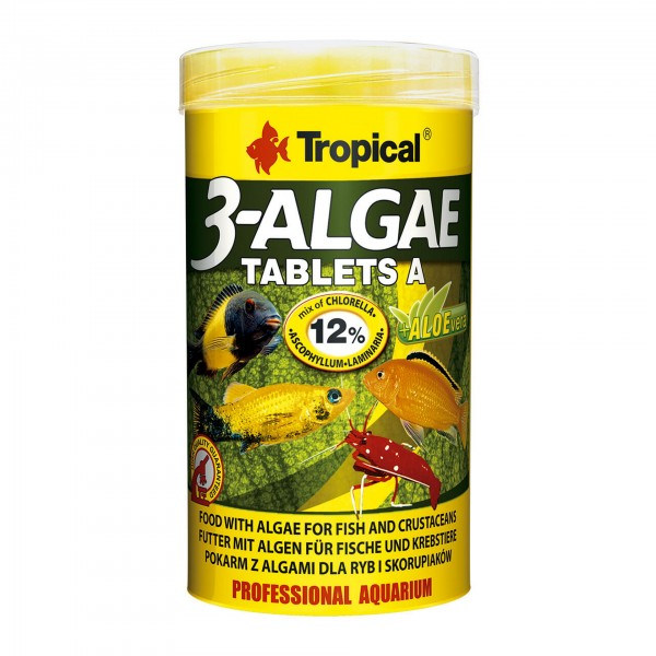 Zierfischfutter Tropical 3-Algae Tablets A - Hafttabletten, 250ml