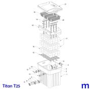 Explosionszeichnung mit Ersatzteilliste für den Teichfilter SÖLL Titan T25 (Bild Nr. 1)