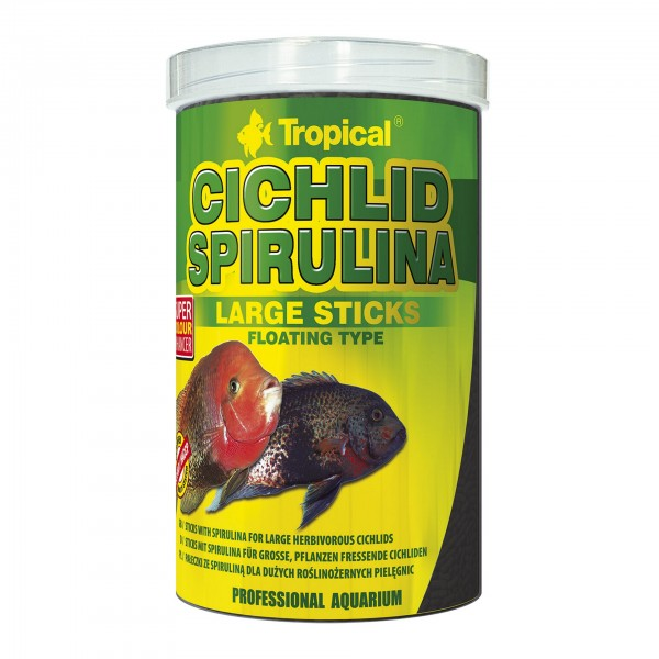 Fischfutter TROPICAL Cichlid Spirulina Large Sticks, 1 Liter