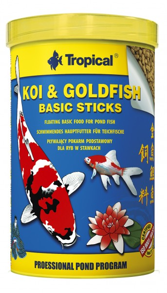 Tropical Fischfutter Koi & Goldfisch Basic Sticks 1 Liter in der Dose