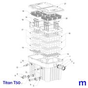 Explosionszeichnung mit Ersatzteilliste für den Teichfilter SÖLL Titan T50 (Bild Nr. 16)