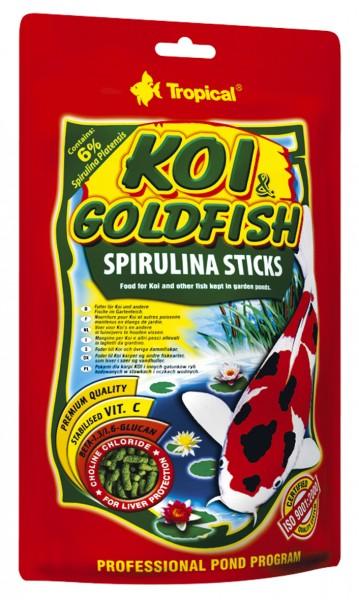 Tropical Fischfutter Koi & Goldfisch Spirulina Sticks 1 Liter im Beutel