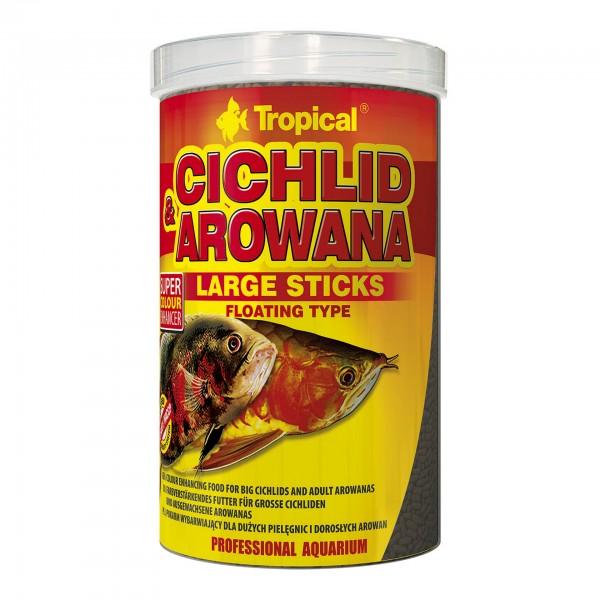 Fischfutter TROPICAL Cichlid & Arowana Large Sticks, 1 Liter